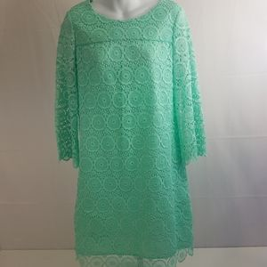 Crown & Ivy Teal Lace Overlay Shift Dress